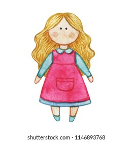 Original watercolor doll. Set with cartoon girls. Nice illustration for for book, stickers,logo, business card or postcard.