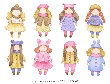 Original watercolor doll. Set with the cartoon girls. A good illustration for a book, a sticker, a logo, a business card or a postcard. Doll, handmade, handmade, children's doll, interior doll, sewing