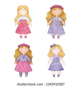 Original watercolor doll. Set with cartoon girls. Handmade toys. Good illustration for a sticker, logo, business card. Doll clothes, children's items, knitted hat, jacket, boots, boots.