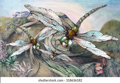 Original Watercolor Dragonfly Swarm Illustration Drawing