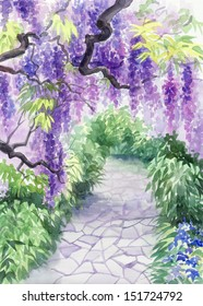 Original watercolor painting of beautiful wisteria garden with alley