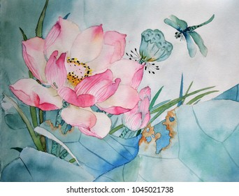 Original watercolor painting of lotus and dragonfly