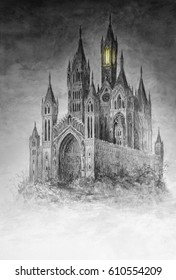 Original watercolor painting of a magical gothic castle.