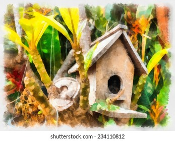 Original watercolor painting of old wooden bird house,art illustration