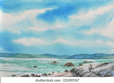 Original watercolour sketch of a sea scape
