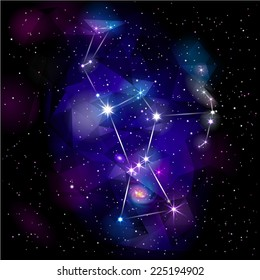 Orion Constellation. True star and nebulosity positions. Raster version.