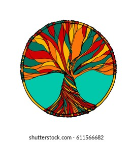 Ornament, decorative zentangle tree of life. Perfect for coloring books, prints, t-shirt