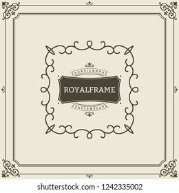 Ornament design invitation template. flourishes calligraphic vintage frame. Good for Luxury, boutique brand, wedding shop, hotel sign