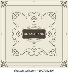 Ornament design invitation template. flourishes calligraphic vintage frame. Good for Luxury, boutique brand, wedding shop, hotel sign