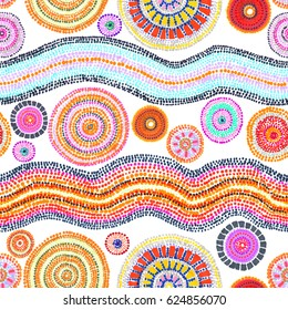 Ornament with dots, circles and waves. Tribal art in australian aboriginal style. Seamless pattern. Hand painting