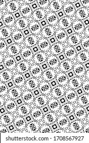 Ornament with elements of black and white colors.