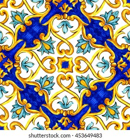 ornament on Italian tiles, majolica, cyan, outline, seamless