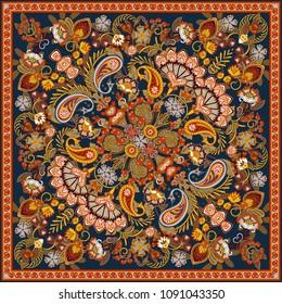 ornament paisley bandana print, silk neck scarf or kerchief square pattern design style for print on fabric. Bandana paisley style. Brown
