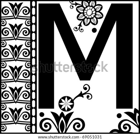 ornamental abc decorative letter m stock illustration 69051031