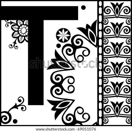 ornamental abc decorative letter t