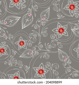 Ornamental colored seamless floral pattern with flowers, doodles, cucumbers and rubies