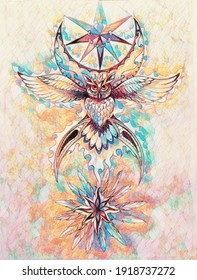 ornamental drawing of sacred owl spirit with moon symbol and feathers.