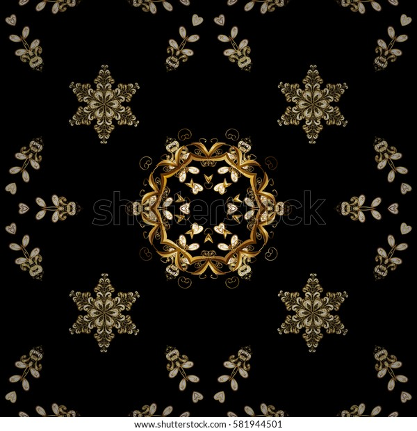 Ornamental floral elements with henna tattoo, golden stickers, mehndi and yoga design, cards and prints. Pattern on black background. Golden mehndi.