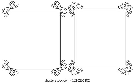 Ornamental frames with vintage decor elements, decorative bows raster illustration in linear style isolated on white background, colorless photoframes