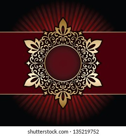 Ornamental gold frame with rays on red background. Vector version also available