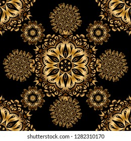Ornamental lace tracery. Traditional arabic ornament with golden elements on black backdrop. Seamless pattern with golden vintage design in Eastern style. Ornate golden decor for fabric.