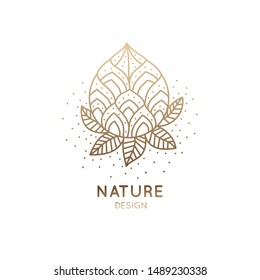 Ornamental logo of floral element. Abstract lotus flower outline icon. Linear emblem for design of business, flower shop, cosmetics, health and ecology concepts, beauty saloon, spa and yoga.