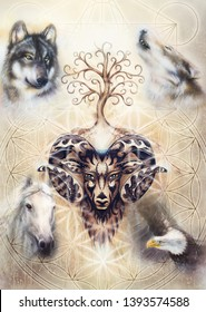ornamental painting of Aries, sacred animal symbol, tree of life, flower of life and merkaba