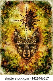 ornamental painting of wolf, sacred animal and ornamental star with feathers and merkaba