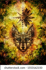 ornamental painting of wolf, sacred animal and ornamental star with feathers and merkaba.