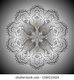 Ornamental pattern mehndi floral lace of buta decoration items on gray and neutral colors. Floral wedding decorative elements.