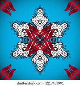 Ornamental pattern mehndi floral lace of buta decoration items on blue, red and white colors. Floral wedding decorative elements.