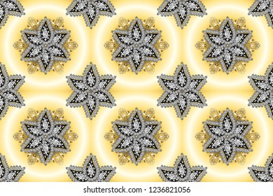 Ornamental pattern mehndi floral lace of buta decoration items on beige, yellow and white colors. Raster floral wedding decorative elements.