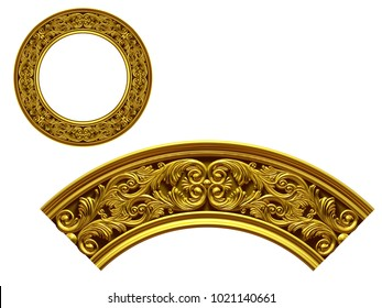 """ornamental segment, """"double"""", round version for ninety degree angle corners or frames. 3D illustration, separated on white"""