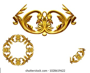 """ornamental segment, """"scroll"""", round, negative version for ninety degree angle corners or frames. 3D illustration, separated on white"""