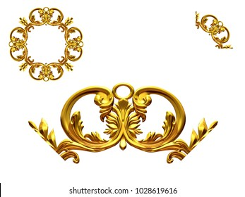 """ornamental segment, """"scroll"""", round version for ninety degree angle corners or frames. 3D illustration, separated on white"""