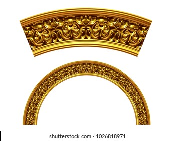 """ornamental segment, """"virtue"""", round version for fourty five degree angle corners or frames. 3D illustration, separated on white"""