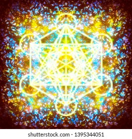 ornamental structure pattern and merkaba. Floral ornament background.