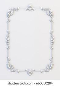 Ornamental vintage frames. Floral design template. Page decoration. Birthday card, wedding invitations. 3d rendering