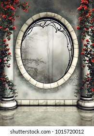 Ornamented gothic window and marble columns with roses and green vines. 3D illustration.