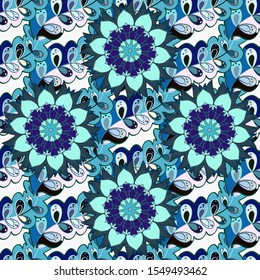Ornaments, background. Seamless pattern with abstract ornament. Seamless pattern with Mandalas.