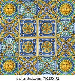 ornaments on the tiles watercolor, pain, Italy Majolica, floral ornament