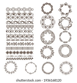 Ornaments, pattern brushes for design, decoration of cards, greetings, banners and messages, illustration