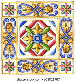 ornaments-on-the-tiles-watercolor-spain-italy-Majolica-floral-ornament