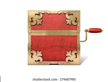 An ornate antique closed jack-in-the-box mad of red wood and gold trimmings on an isolated white studio background