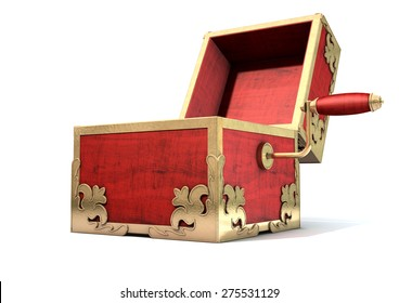 An ornate antique open jack-in-the-box mad of red wood and gold trimmings on an isolated white studio background