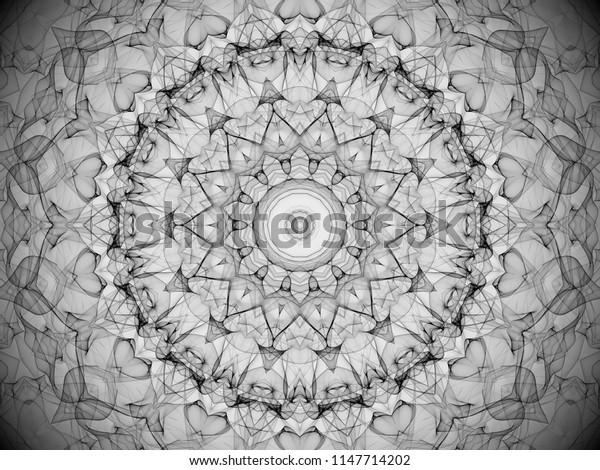 ornate black and white filigree decorative mandala design with arabesque detail