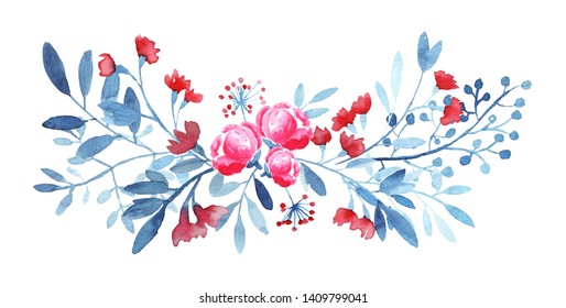 Ornate bouquet with rose flowers, leaves, berries. Blue, red,  colors.  Modern watercolor