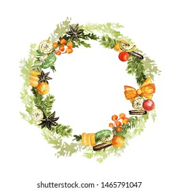 Ornate Christmas wreath. Twigs, lemon, vanilla, cinnamon, pale fir, berries, orange bow and tapes elements. Watercolor technique