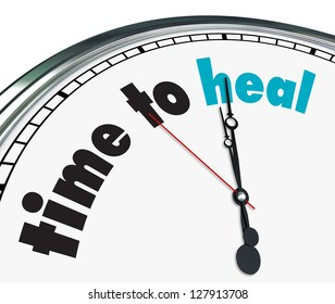 An ornate clock with the words Time to Heal on its face