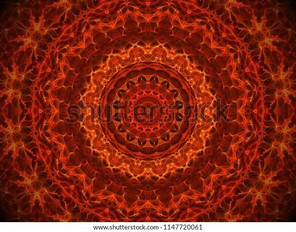 ornate decorative orange and yellow complex mandala design